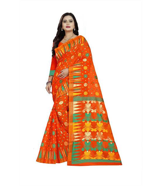 Thirubuvanam Cotton Silk Saree (Orange