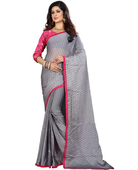 Thirubuvanam Jacquard Saree Grey