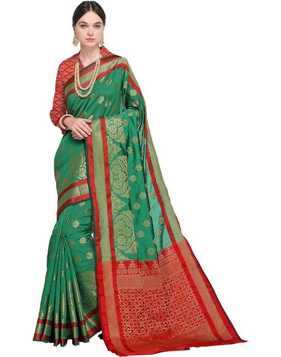 Thirubuvanam Poly Silk Saree Red, Green