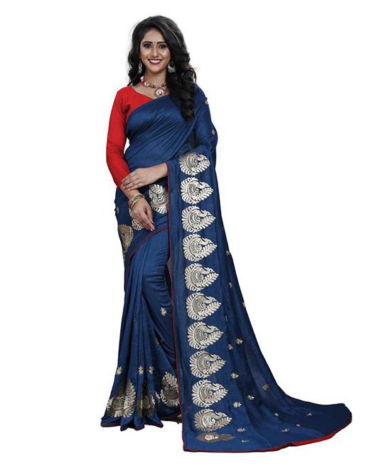Thirubuvanam Silk Blend Saree Blue