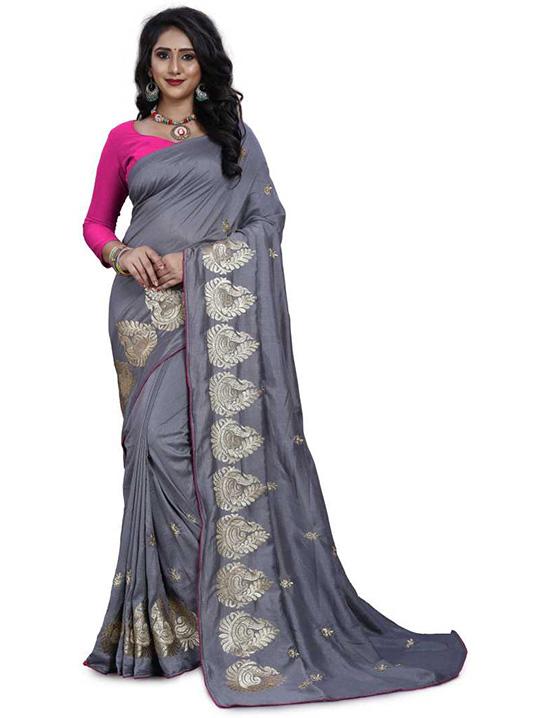 Thirubuvanam Silk Blend Saree (Grey