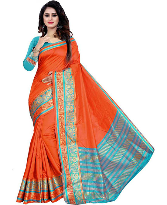 Thirubuvanam Tussar Silk, Jacquard Saree Orange