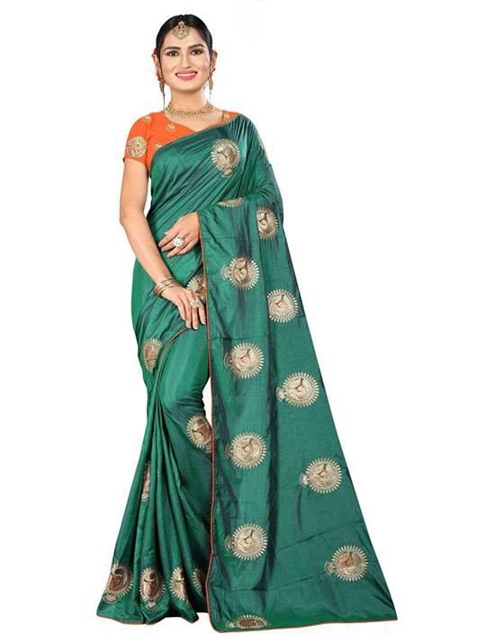 Thirubuvanam Tussar Silk Saree Green