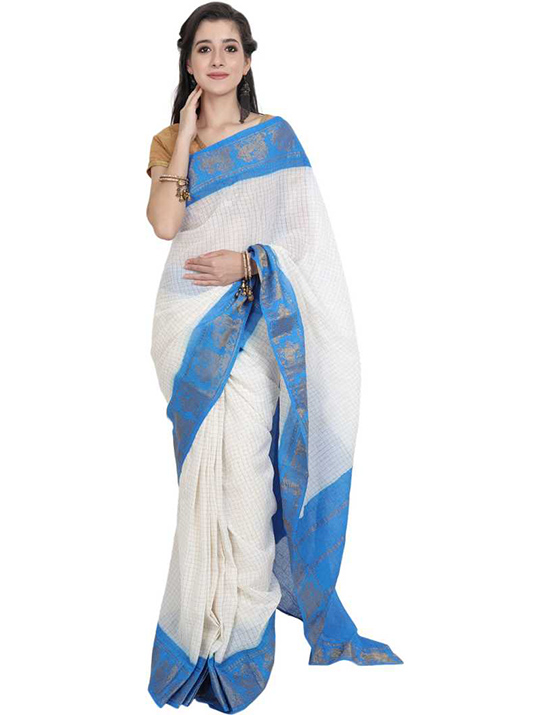 White Sungudi Cotton Blend Saree