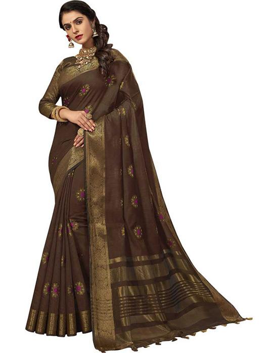 Woven Banarasi Cotton Silk Brown Saree