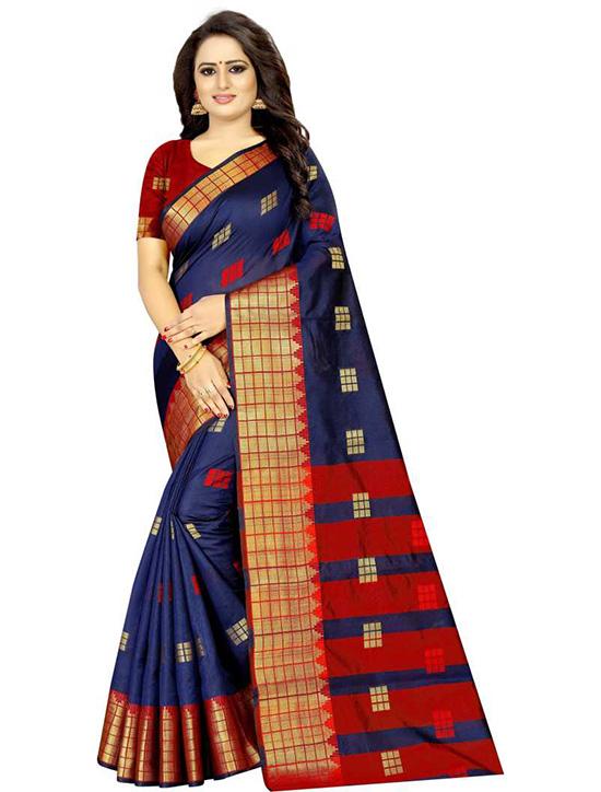 Woven Banarasi Cotton Silk Navy Blue Saree
