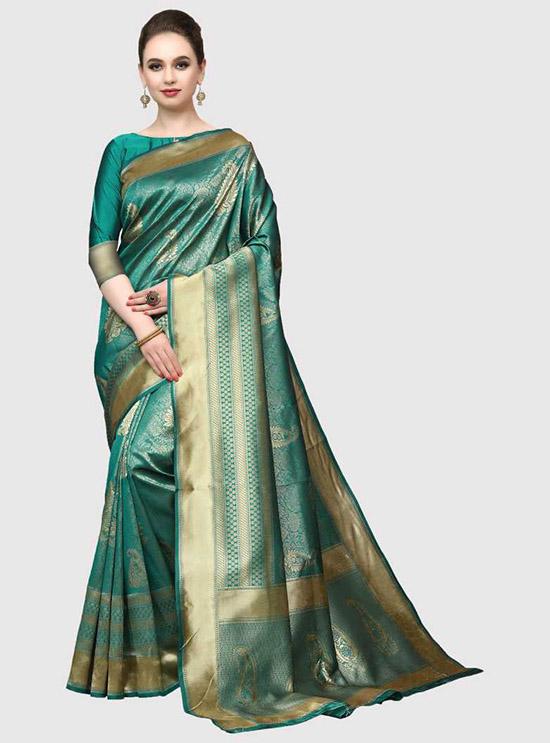 Woven Banarasi Jacquard, Poly Silk Green Saree