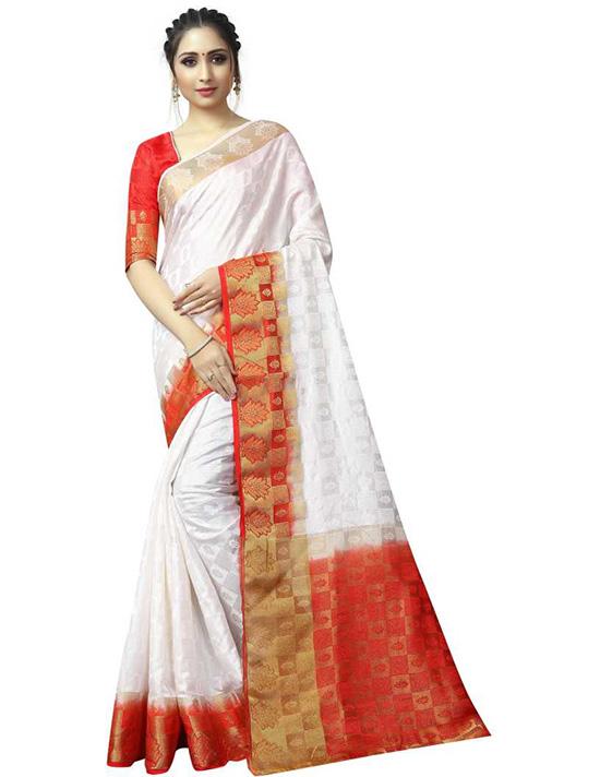 Woven Banarasi Poly Silk White Saree