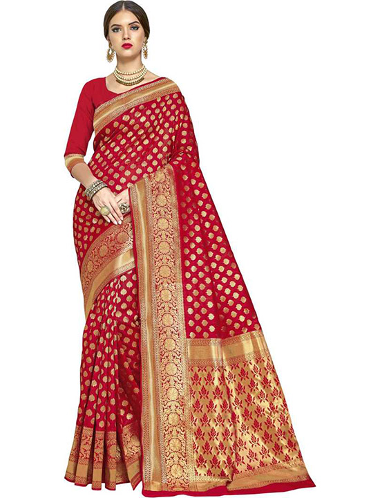 Woven Banarasi Silk Blend, Jacquard Red Saree