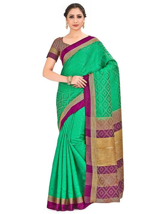 Woven Banarasi Tussar Silk Green Saree