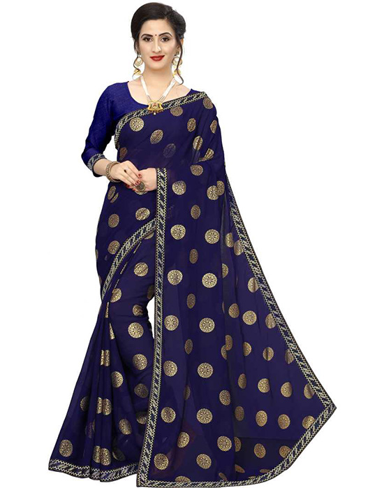 Woven Bollywood Georgette Blue Saree
