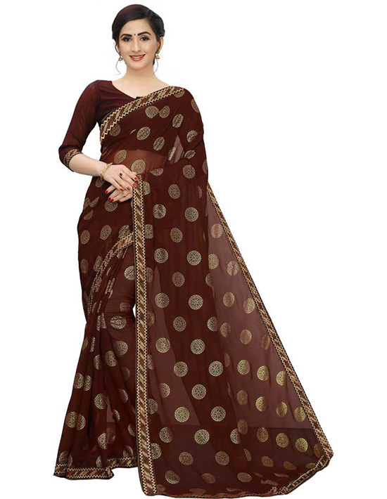 Woven Bollywood Georgette Brown Saree