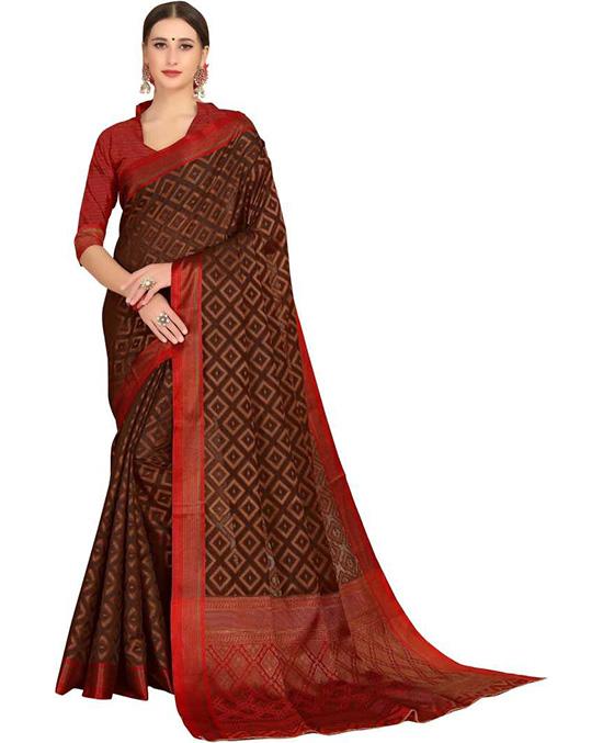 Woven BrownKanjivaram Silk Blend, Cotton Silk Saree