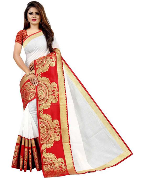 Woven Chanderi Cotton Silk White Saree