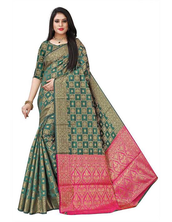 Woven, Checkered Patola Silk Blend, Jacquard Green Saree