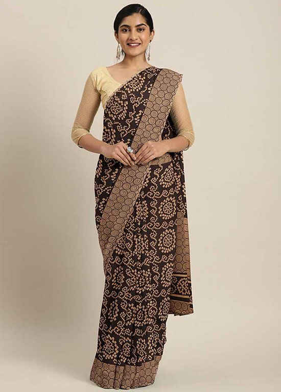 Woven Daily Wear Georgette Brown Saree