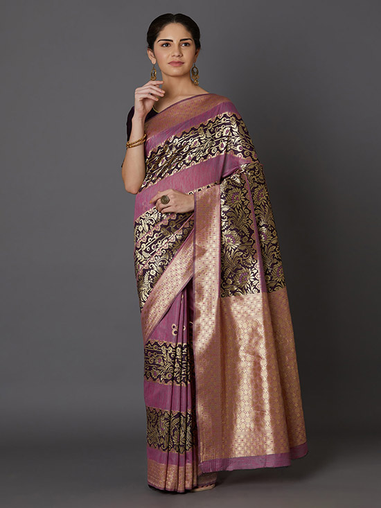 Woven Design Kanjeevaram Lavender & Brown Saree