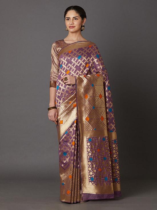 Woven Design Kanjeevaram Lavender & Gold Saree