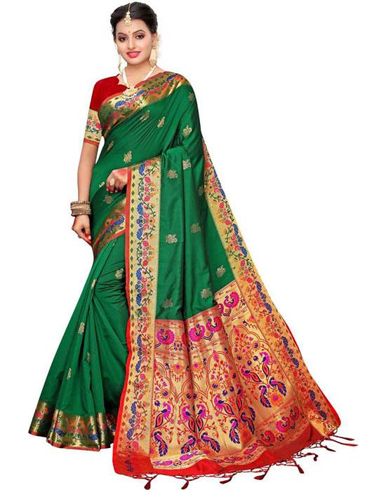 Woven, Embellished Paithani Silk Blend, Jacquard Green Saree