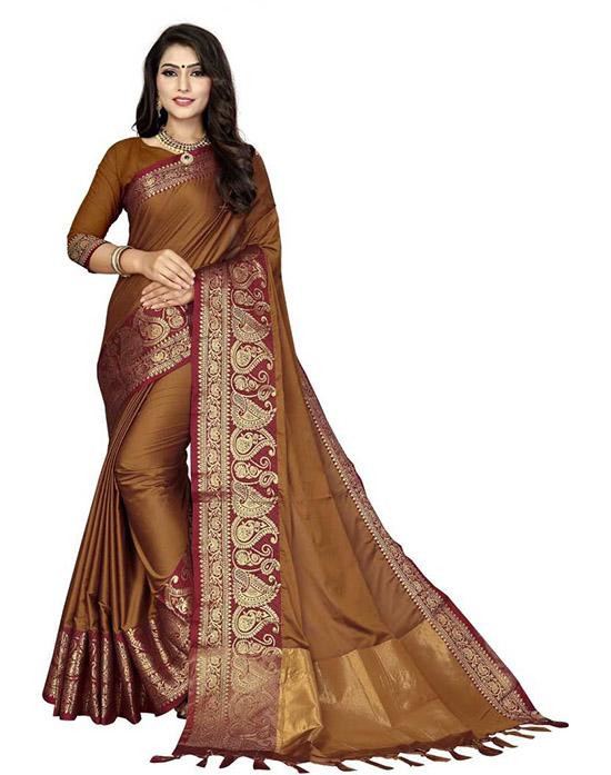 Woven Fashion Cotton Silk Brown Saree