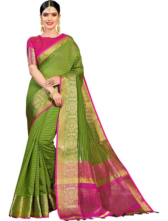 Woven Fashion Cotton Silk Green Saree