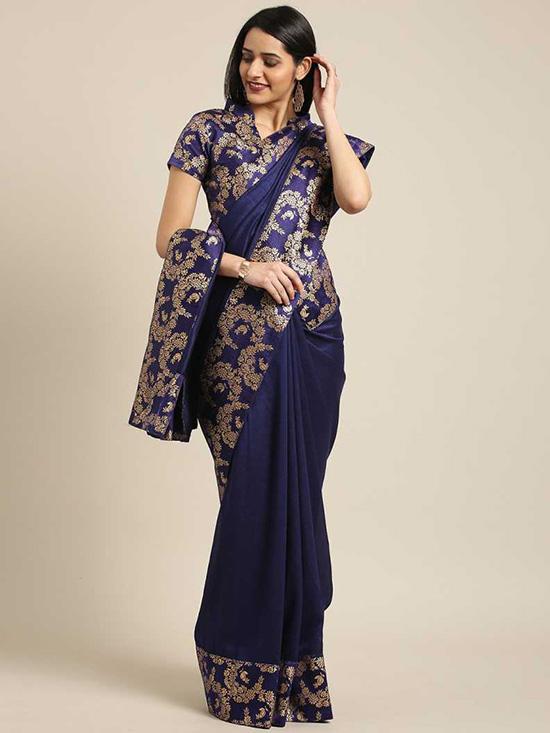 Woven Fashion Silk BlendNavy BlueSaree