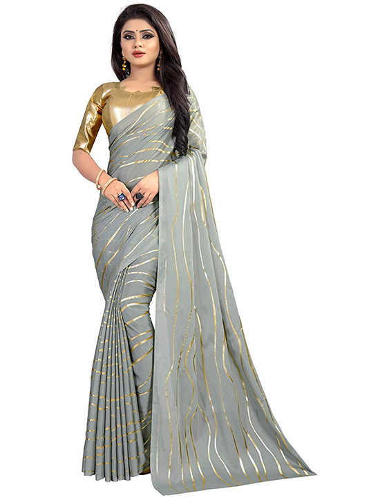 Woven Georgette Silver Saree With Blouse Piece