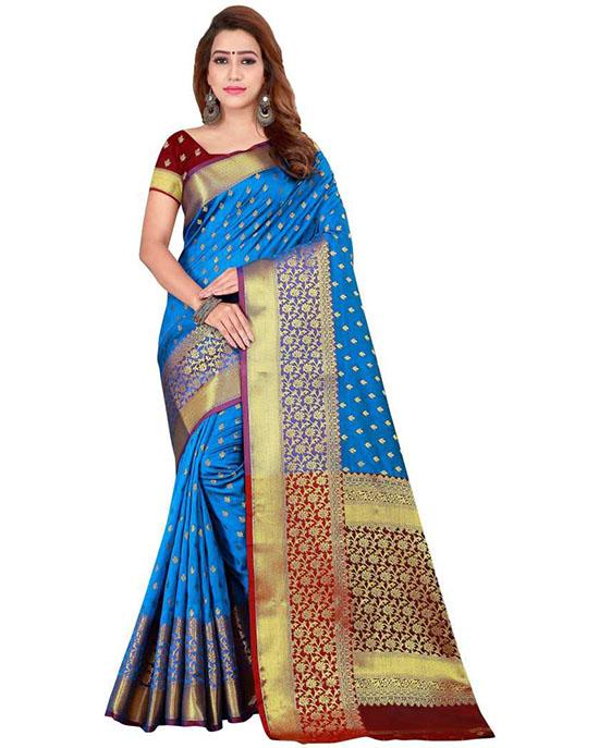 Woven Kanjivaram Art Silk Blue Saree