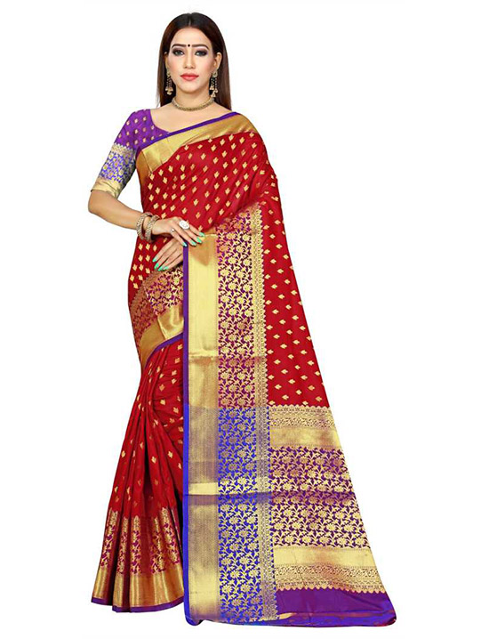 Woven Kanjivaram Art Silk Red Saree