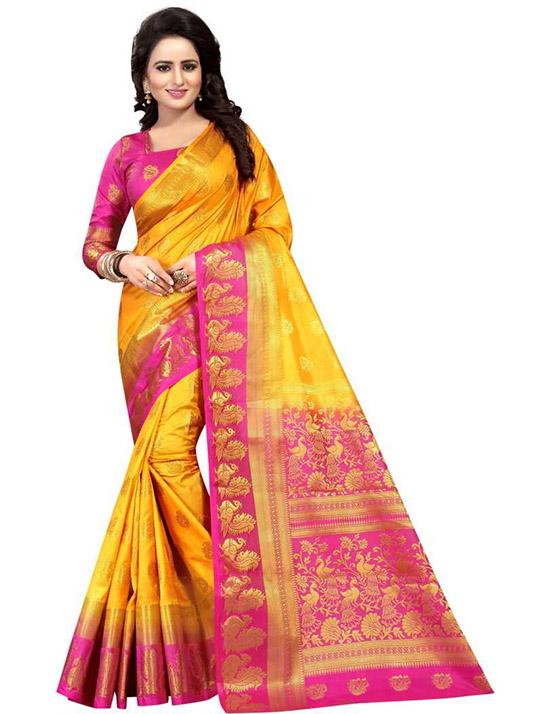 Woven Kanjivaram Art Silk Yellow Saree