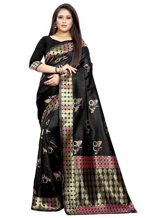 Woven Kanjivaram Jacquard, Poly Silk Black Saree