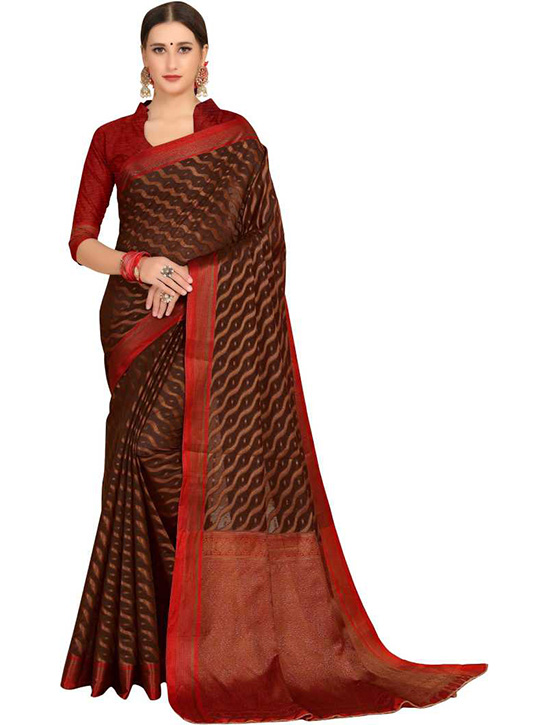 Woven Kanjivaram Silk Blend, Cotton Silk Brown Saree