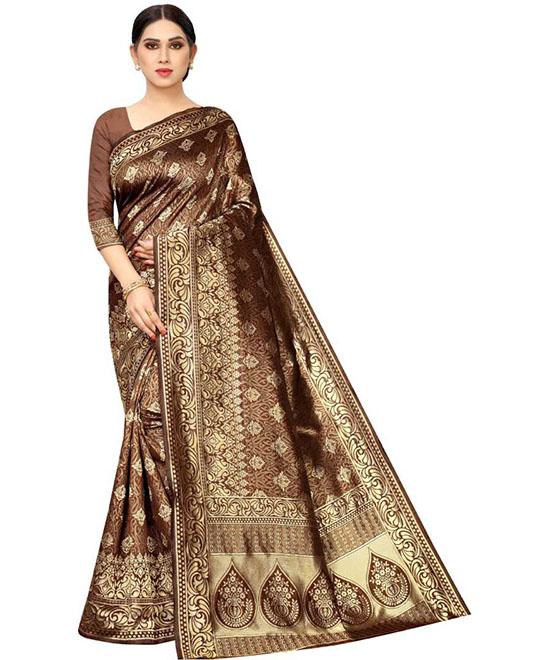 Woven Kanjivaram Silk Blend, Jacquard Brown Saree