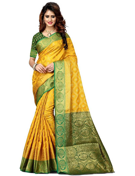 Woven Paithani Art Silk, Poly Silk Yellow Saree
