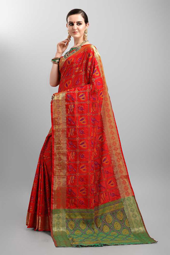 Woven Patola Silk Blend Red Saree
