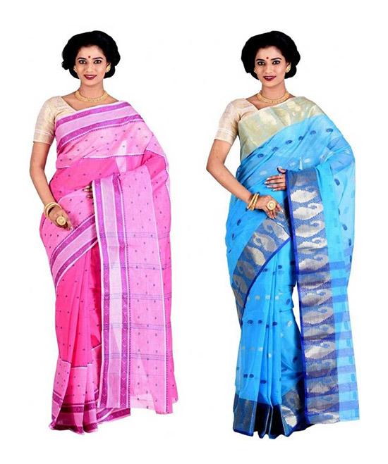 Woven Tangail Cotton Blend Saree Pack of 2, Blue, Pink
