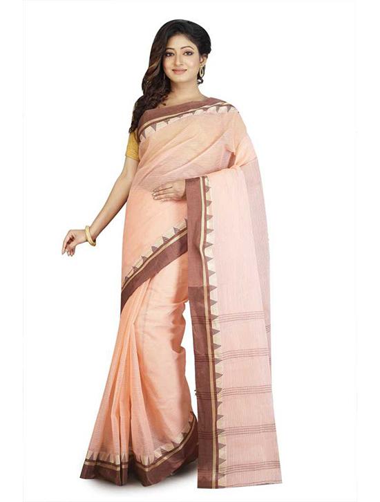 Woven Tangail Handloom Cotton Blend Saree Pink