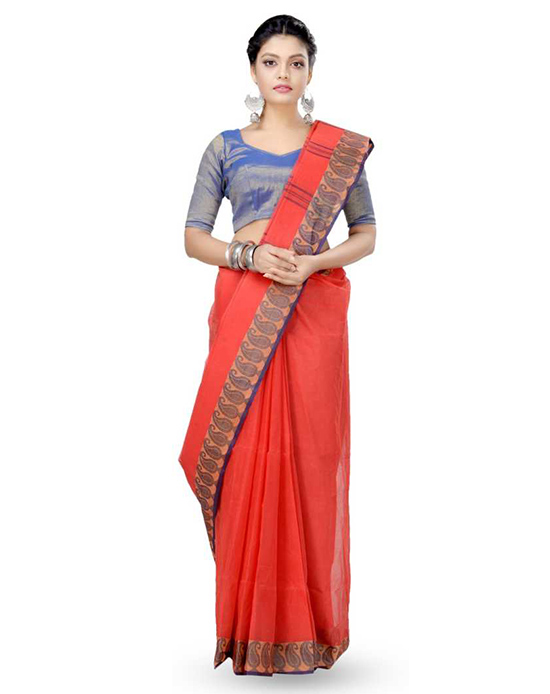 Woven Tangail Pure Cotton Saree (Multicolor
