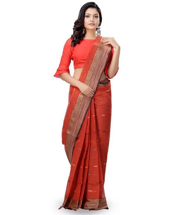 Woven Tangail Pure Cotton Saree Multicolor)