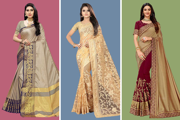 Beige Sarees – 25 Latest Beige Color Sarees with Images