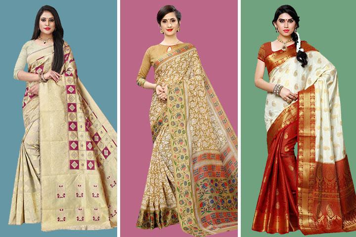 Cream Saree : 25 Trendy Cream Colour Sarees for Women