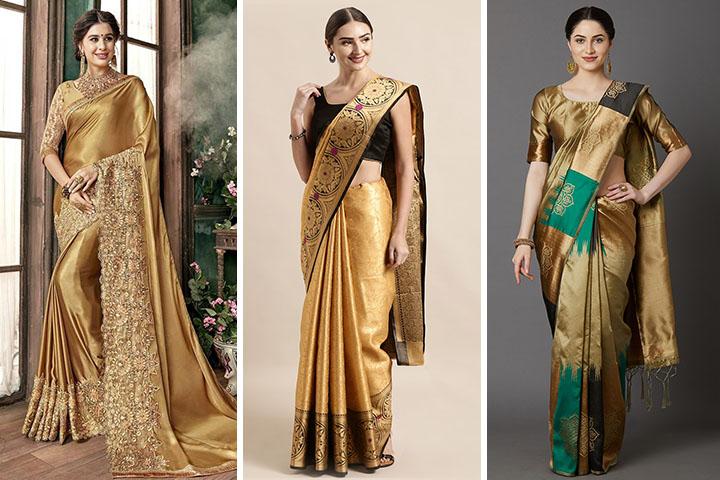 Gold Colour Sarees – 30 Traditional Gold Colour Saree Collection
