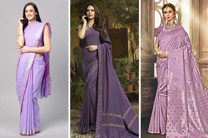 Lavender Sarees – 25 Trendy Lavender Colour Sarees