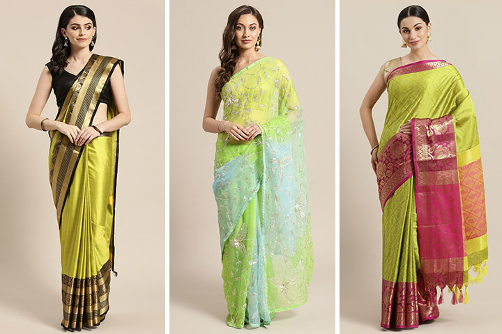 Lime Green Sarees – 25 Latest Lime Green Sarees For Women