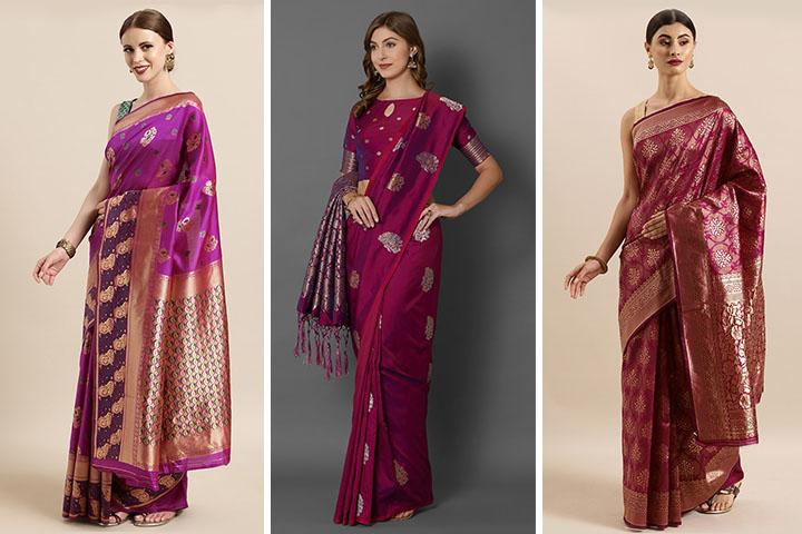 Magenta Sarees : 25 Latest Collection of Magenta Colour Sarees