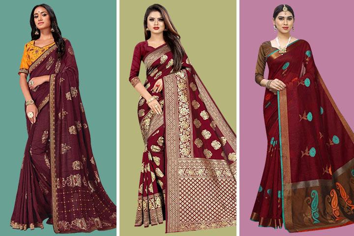 Maroon Sarees – 25 Trendy Maroon Color Sarees Collection