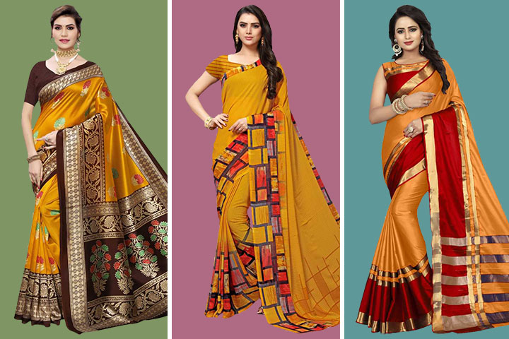 Mustard Sarees- 25 Exclusive Collections of Mustard Color Sarees