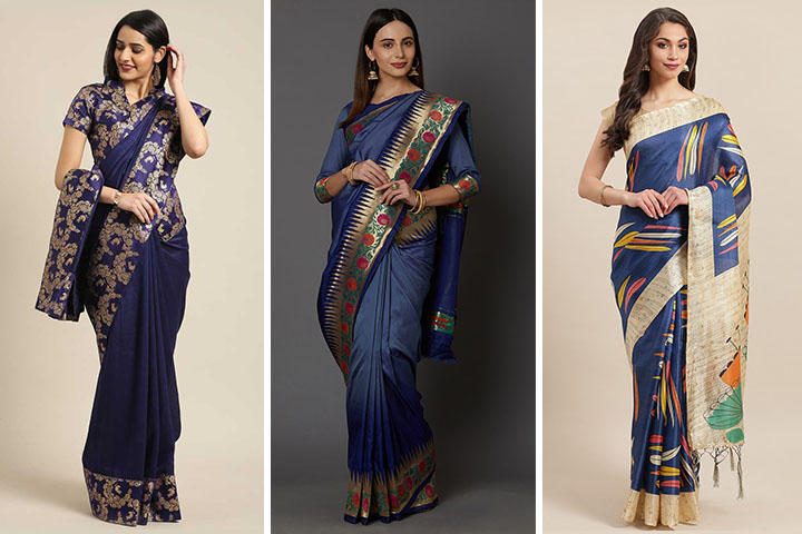 Navy Blue Sarees – 30 Exclusive Collections of Navy Blue Color Sarees