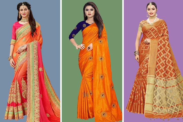 Orange Sarees – 25 Latest Styles of Orange Color Saree Designs