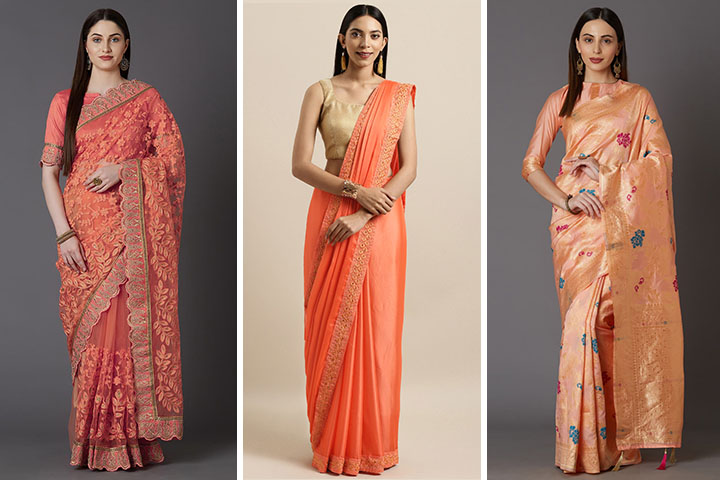 Peach Saree – 30 Latest Collection of Peach Colour Saree Designs for You